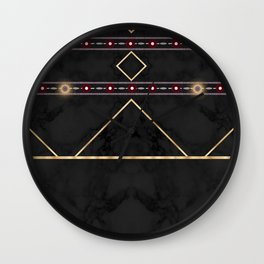 Golden Sun Mandala Ruby Flowr over BlackMarble Wall Clock