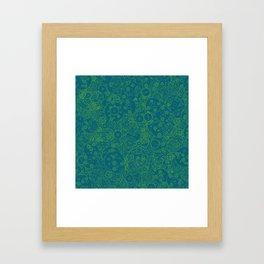 Clockwork Turquoise & Lime / Cogs and clockwork parts lineart pattern Framed Art Print