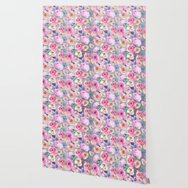 Blush pink gray lilac abstract botanical roses floral Wallpaper