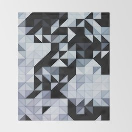 Abstract Black and White Geometry Throw Blanket