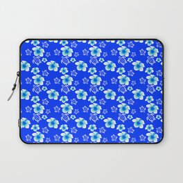 Blue Floral And Turtles Hawaiian Pattern Laptop Sleeve
