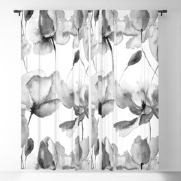 Black and White Watercolor Tulip and Poppy Floral Pattern Blackout Curtain