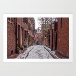 Snowy Beacon Hill Boston Art Print