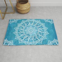 Chic Blue Boho Mandala Rug