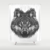 wolf Shower Curtains featuring Wolf by ohzemesmo