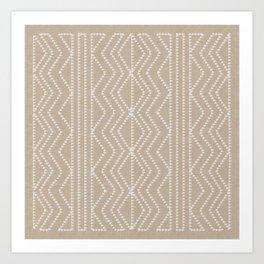 Cream Linen Beige Arrows Pattern Art Print