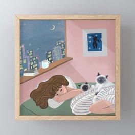 City night with cats Framed Mini Art Print