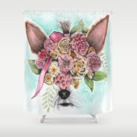 yorkie Shower Curtains featuring Yorkie by Carmen McCormick