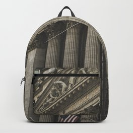New York, Wall Street, stock exchange building, US flag, I love NY Backpack