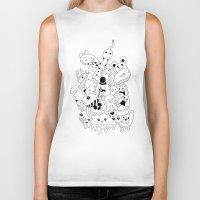 doodle Biker Tanks featuring Doodle by Malia León