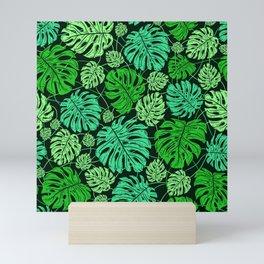 Tropical Island Lush Green Leaves Pattern Mini Art Print