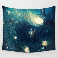 fireflies Wall Tapestries featuring Fireflies by Morgan Ofsharick - meoillustration