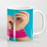 bondage Mugs featuring Bondage Heart Hands by Mel Had Tea
