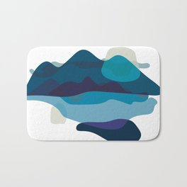 Abstract Mountains Landscape in Blue Bath Mat