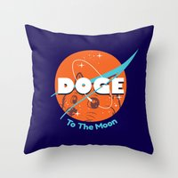 nasa Throw Pillows featuring Doge Nasa Variant (To The Moon!) by Tabner's