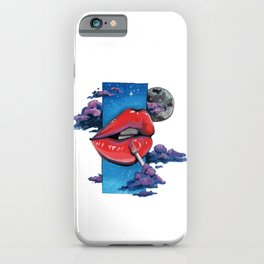 Red lip gloss on white iPhone Case