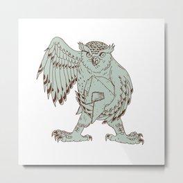 Owl Holding Spartan Helmet Drawing Metal Print