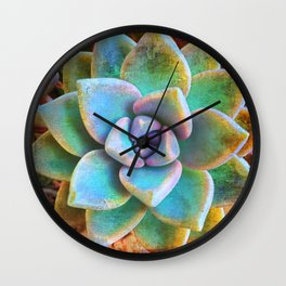 """Bloom where you are planted"" mint green & turquoise cactus close-up photo Wall Clock"