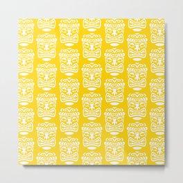 Tiki Pattern Yellow Metal Print