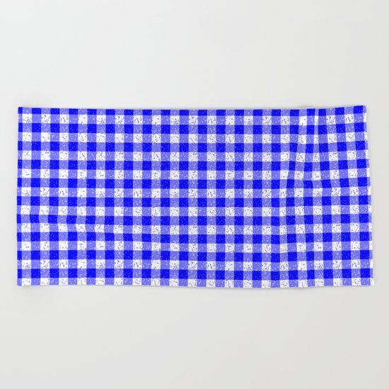 Gingham Blue and White Pattern Beach Towel