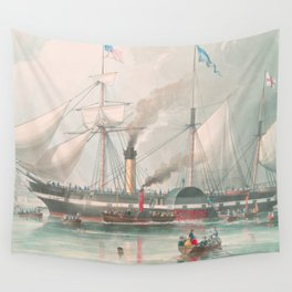 Vintage Illustration of The President's Steamship (1840) Wall Tapestry