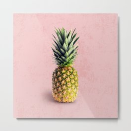 Pineapple on pink background Metal Print