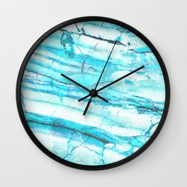 White Marble with Blue Green Veins Wall Clock