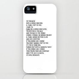 Regulate Warren G Hip Hop Music Lyrics iPhone Case