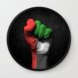 UAE Flag on a Raised Clenched Fist Wall Clock