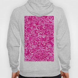 Watercolor Chinoiserie Block Floral Print in Magenta Pink Porcelain Tiles Hoody