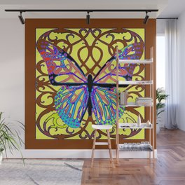 ITALIAN STYLE BROWN-YELLOW BUTTERFLY FILIGREE Wall Mural