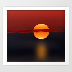 Sun on Red and Blue Art Print