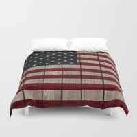 patriotic Duvet Covers featuring Patriotic Wood Texture #1 by Juliana RW