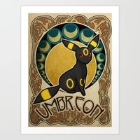 umbreon Art Prints featuring Umbreon by Yamilett Pimentel