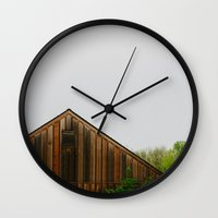 cabin Wall Clocks featuring Cabin Season by Tina Crespo