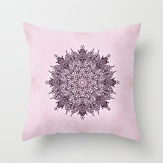 Pink Mandala Fractal Art Throw Pillow