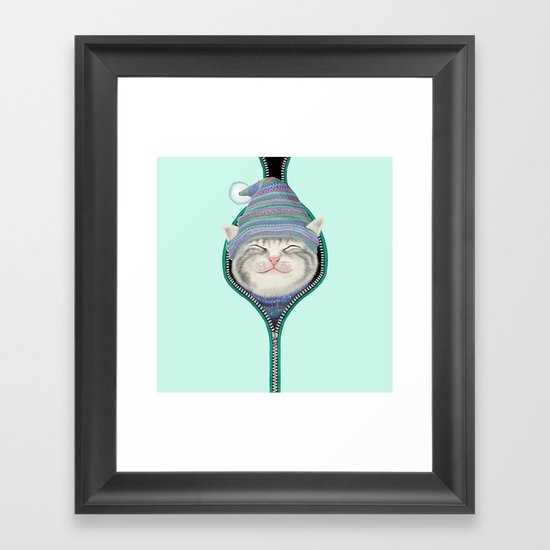 Cat in the zip Framed Art Print