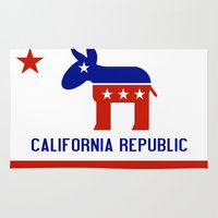 political Area & Throw Rugs featuring Political California Republic Democrat by NorCal