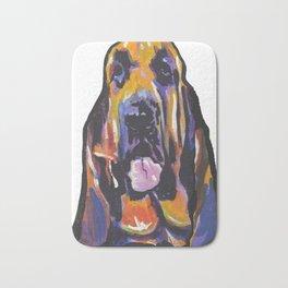 Fun BLOODHOUND Dog Portrait bright colorful Pop Art Painting by LEA Bath Mat