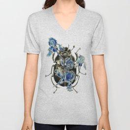 Beetle in blue irises Unisex V-Neck