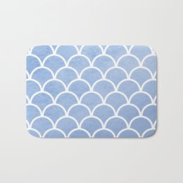 Beautiful textured large scallops in serenity blue Bath Mat