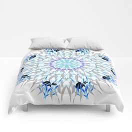 ice flake winter mandala Comforters