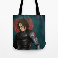 winter soldier Tote Bags featuring Winter Soldier by toibi