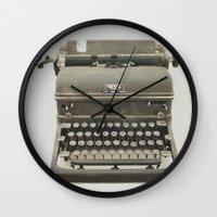 typewriter Wall Clocks featuring Typewriter by LUKE/MALLORY