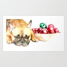 Christmas French Bulldog Art Print