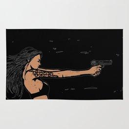 Tattooed girl with gun Rug