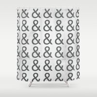 helvetica Shower Curtains featuring Helvetica Ampersand - Happy National & Day! by Yellow 13