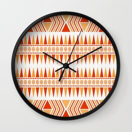 052 Traditional orange and red navajo pattern interpretation Wall Clock