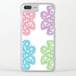 Multicolor Roses Flower Doodle Clear iPhone Case