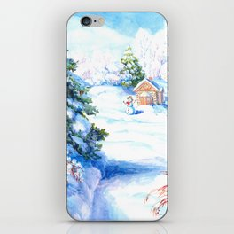 Sunny winter day Christmas tree holiday snowman fairy tale iPhone Skin